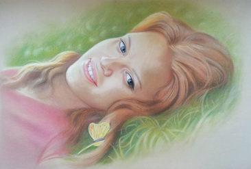 Настоящий портрет пастелью для любимой девушки в Харькове, просто и со вкусом!