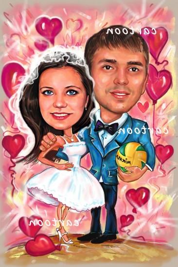 Свадебный шарж с оригинальным сюжетом в Харькове!