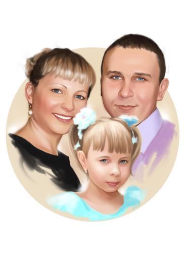 Семейный портрет по фото на холсте в Харькове — правильный подарок!